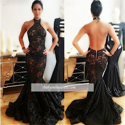 Popular Black Mermaid Halter Backless Lace Prom Dress_1