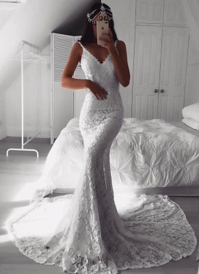 Sexy Lace Mermaid Wedding Dresses | Spaghetti Straps Open Back Long Bridal Gowns