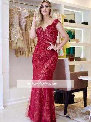 Glamorous Sleeves Mermaid Cap V-Neck Beading Lace Prom Dresses_1