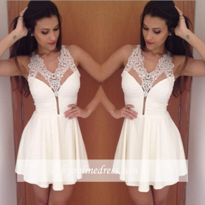 Simple Sexy Halter New A-Line Short Lace Homecoming Dress_1