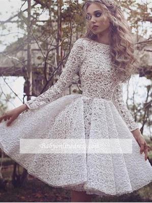 Full Lace Long Sleeves Glamorous White Short Homecoming Dresses PT078_1