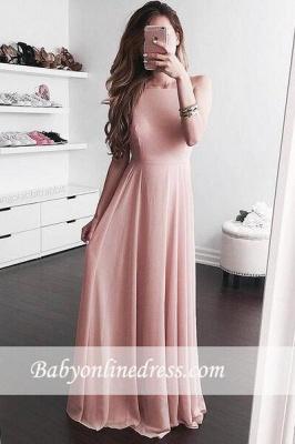 2018 Elegant A-line Jewel Pink Sleeveless Floor-length Prom Dress_3
