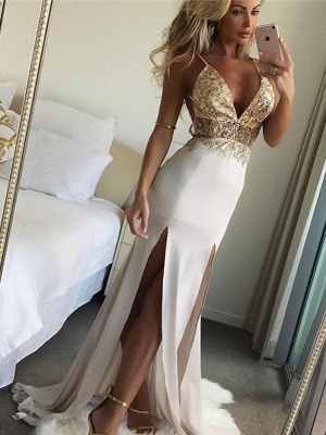 Shiny Beading Mermaid Evening Dresses | Sexy Deep V-Neck Side Slit Long Prom Dresses_2