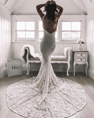 Sexy Lace Mermaid Wedding Dresses | Spaghetti Straps Open Back Long Bridal Gowns_3
