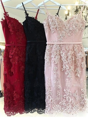 Elegant Pink Sheath Homecoming Dresses | Spaghettis Straps Lace Appliques Cocktail Dress_3