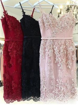 Elegant Pink Sheath Homecoming Dresses | Spaghettis Straps Lace Appliques Cocktail Dress_3