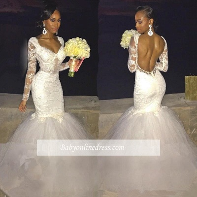 Sexy Mermaid Lace Long-Sleeve Backless Wedding Dress_1