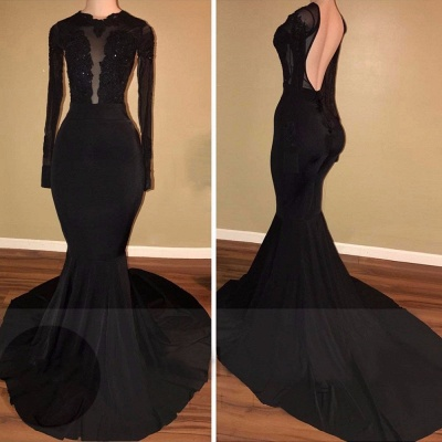 Simple Black Mermaid Evening Gowns | Long Sleeves Backless Prom Dresses_1