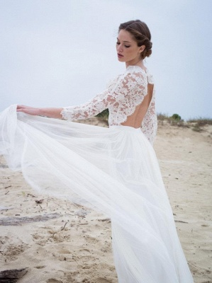 Modern Lace V-neck 3/4 sleeves Simple A-line Wedding Dresses_4