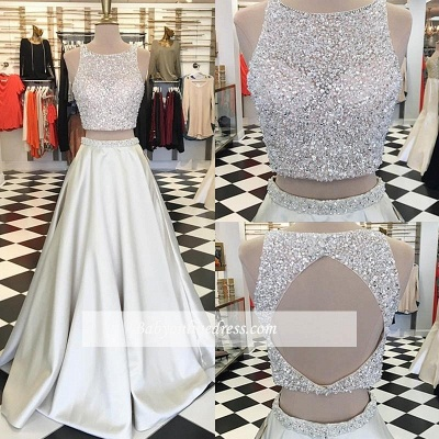 A-line Jewel Two-Piece Crystals Sleeveless Gorgeous Prom Dress_1
