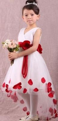 Cute White V-Neck Hi-Lo Unique Cheap Tulle Ball Gown Flower Girl Dresses_2