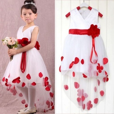 Cute White V-Neck Hi-Lo Unique Cheap Tulle Ball Gown Flower Girl Dresses_1