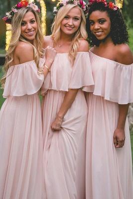 Off-the-Shoulder Chiffon Bridesmaid dress|Elegant Pink Wedding Guest Dresses_1