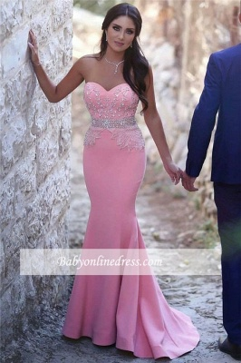 Mermaid Pink Beads Sequins Sweetheart Crystals Pretty Sleeveless Evening Dress_4