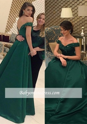 Green Beads Glamorous Off-the-Shoulder Evening Dress_3