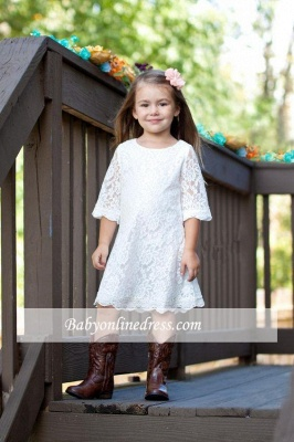 Cute Lace White Half-Sleeve A-line Knee Length Flower Girl Dress_1