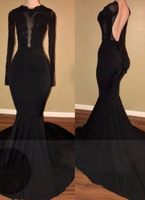 Simple Black Mermaid Evening Gowns | Long Sleeves Backless Prom Dresses_3