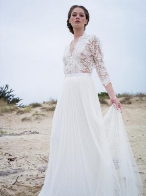 Modern Lace V-neck 3/4 sleeves Simple A-line Wedding Dresses_2