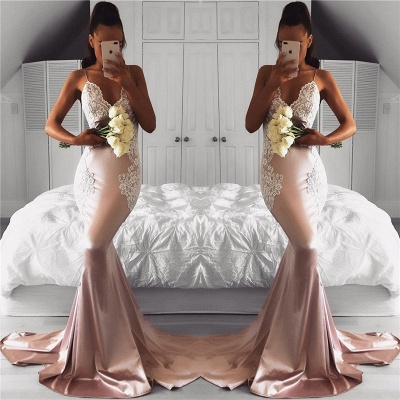 Cute Lace Mermaid Prom Dress Spaghetti-Strap Sleeveless Long Evening Dresses_3