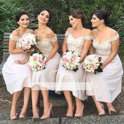 Sexy Short Lace Off the Shoulder Bridesmaids Dresses_1