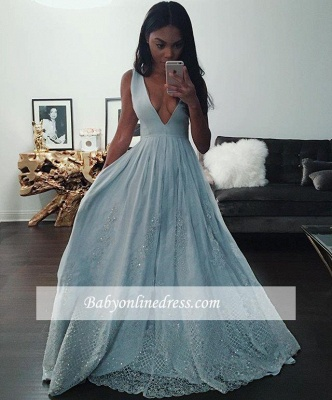 Pretty Baby-Blue V-neck Prom Dress 2018 Sleeveless Lace Evening Gowns with Beading_1