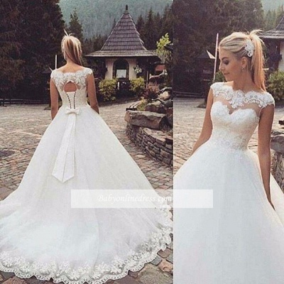 Capped-Sleeves Bow Back Lace-Up Ball Gown Wedding Dresses_1