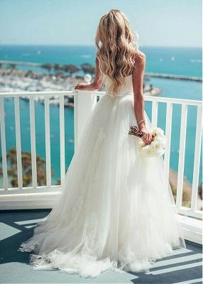 Gorgeous Floor Length Sweetheart Spaghetti Straps Tulle Beach Wedding Dresses_5