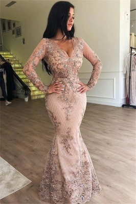 Floor Length Gorgeous Long Sleeves Prom Dresses With Detachable Train   Long Evening Dresses_2