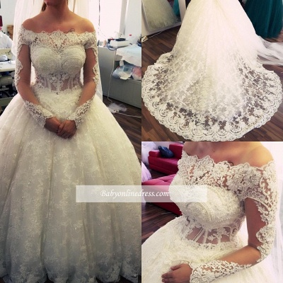 Lace Ball-Gown Amazing Pearls Off-the-Shoulder Long-Sleeves Wedding Dresses_1