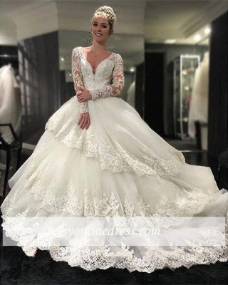 Delicate Three Layers Long Sleeves Ball-Gown Lace Appliques Wedding Dress_1