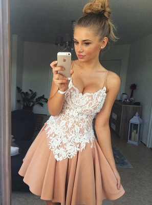 Sexy Spaghetti Straps A-Line Homecoming Dresses | Lace Appliques Short Cocktail Dresses_1