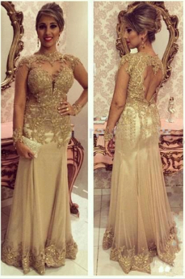 Luxury Sheath Floor-Length Long Sleeve Applique Beaded Tulle Evening Dresses_1