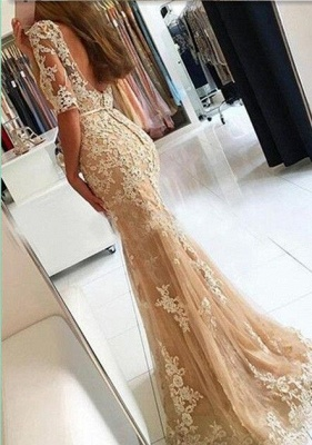 2018 Champagne Mermaid Lace Prom Dresses Open-Back Half-Sleeves Evening Gowns LY137_3