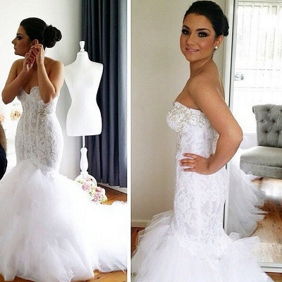 Elegant Sweetheart Mermaid Lace Wedding Dresses with Court Train with Beadings_2
