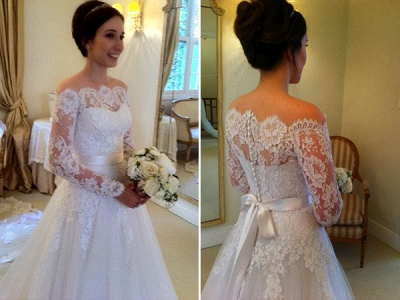 A-line Elegant Long-Sleeves Sweep Train Off-the-shoulder Sashes Wedding Dresses_3