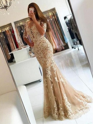 2018 Champagne Mermaid Lace Prom Dresses Open-Back Half-Sleeves Evening Gowns LY137_2