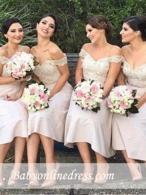 Sexy Short Lace Off the Shoulder Bridesmaids Dresses_4
