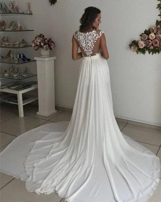 Elegant A-line Wedding Dresses | Lace Appliques Side Slit Bridal Gowns_4