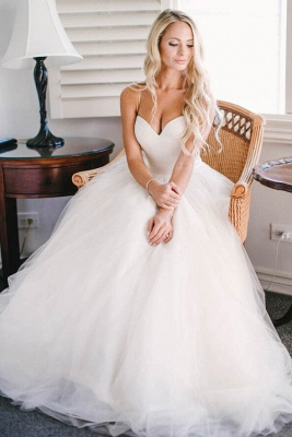 Gorgeous Floor Length Sweetheart Spaghetti Straps Tulle Beach Wedding Dresses_4