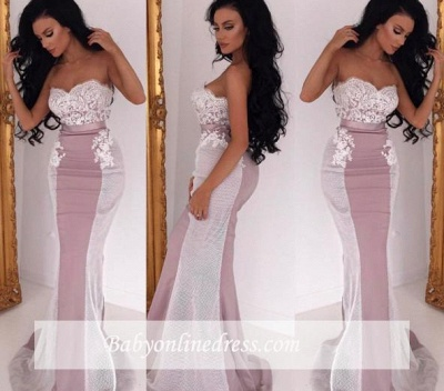 Sexy Sweetheart Lace Mermaid Sleeveless Sweep Train Bridesmaid Dress_1