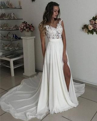 Elegant A-line Wedding Dresses | Lace Appliques Side Slit Bridal Gowns_3