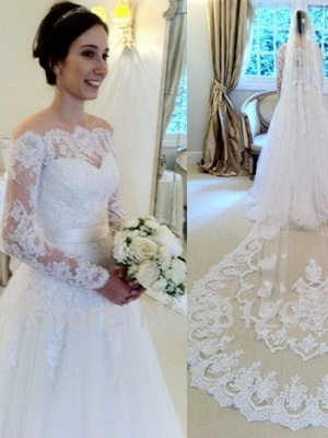 A-line Elegant Long-Sleeves Sweep Train Off-the-shoulder Sashes Wedding Dresses_2