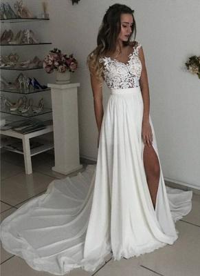 Elegant A-line Wedding Dresses | Lace Appliques Side Slit Bridal Gowns_1