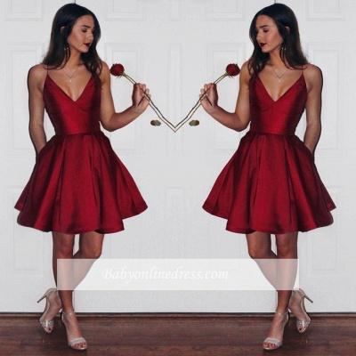 Newest Short Spaghetti-strap Sleeveless Ruby Homecoming Dress_1