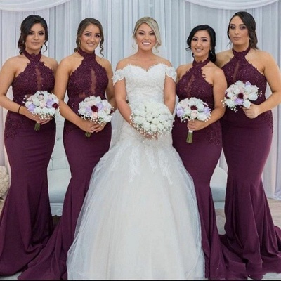 Halter Mermaid Sexy  Bridesmaid Dresses | Lace Appliques Long Maid Of The Honor Dresses_3