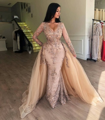 Floor Length Gorgeous Long Sleeves Prom Dresses With Detachable Train | Long Evening Dresses_3