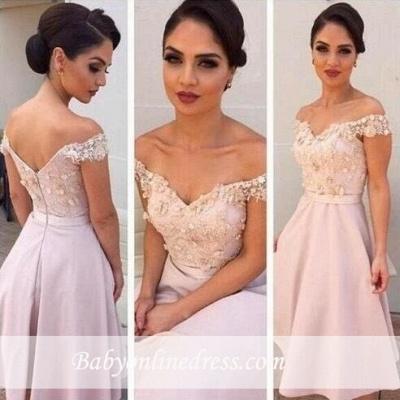 Sexy Short Lace Off the Shoulder Bridesmaids Dresses_3