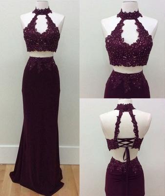 Lace-Up Beading Keyhole-Neck Two-Piece Lace Sheath Prom Dresses_3