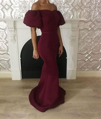 Elegant Maroon Mermaid Prom Dresses | Short Puffy Sleeves Formal Dresses_5