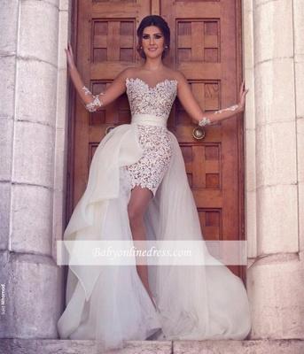 Amazing Hi-lo Detachable Train Illusion Long-Sleeves Sheath Wedding Dresses_1